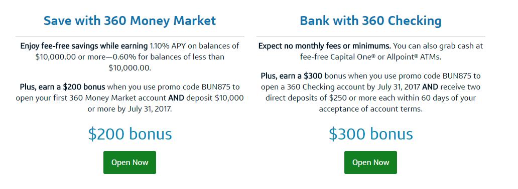 Capital one 360 savings account bonus