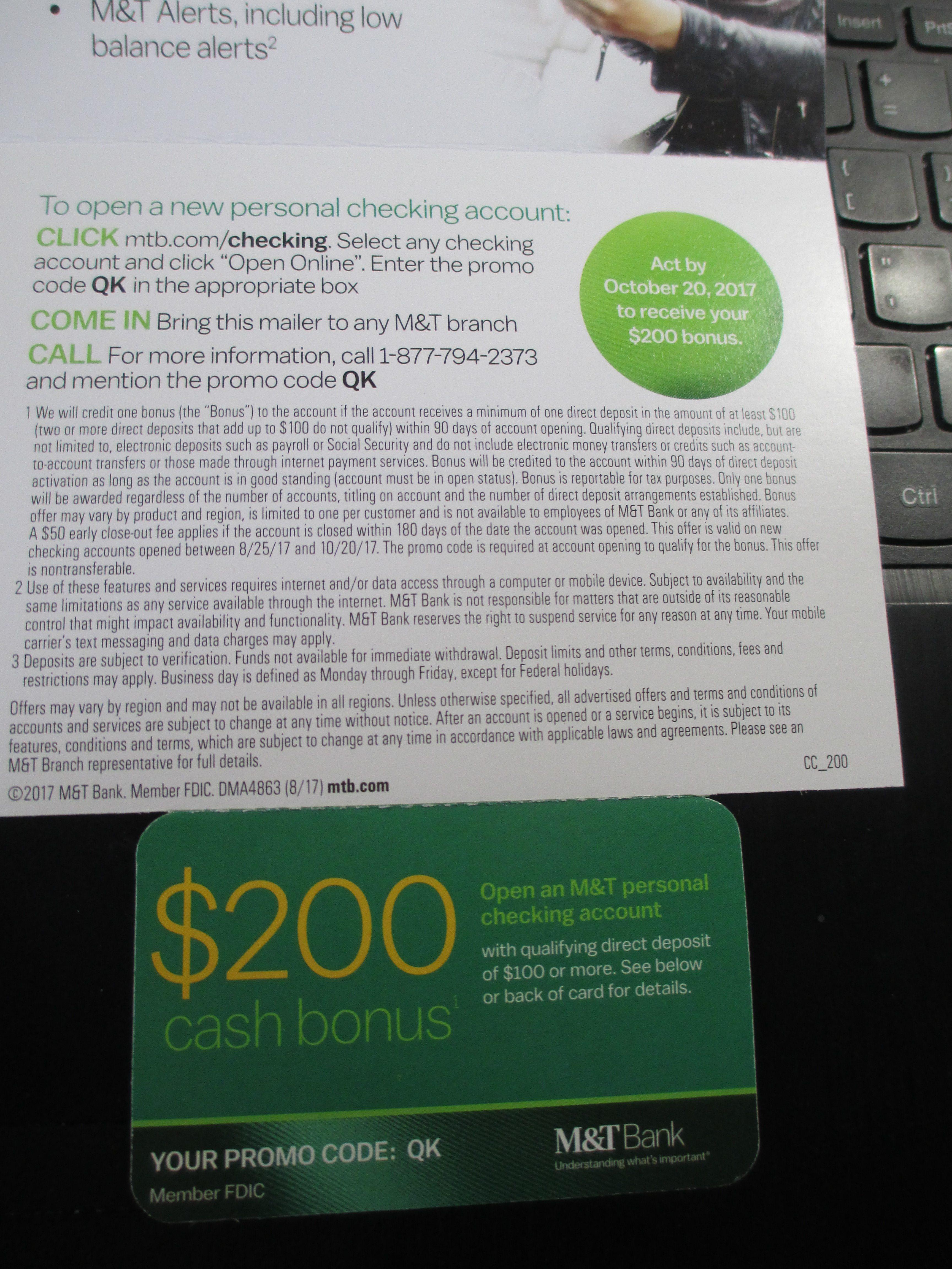 [YMMV] M&T Bank $200 Checking Bonus QK – Available Online [CT, DC, DE, MD, NJ, NY, PA, VA, WV] - Doctor Of Credit